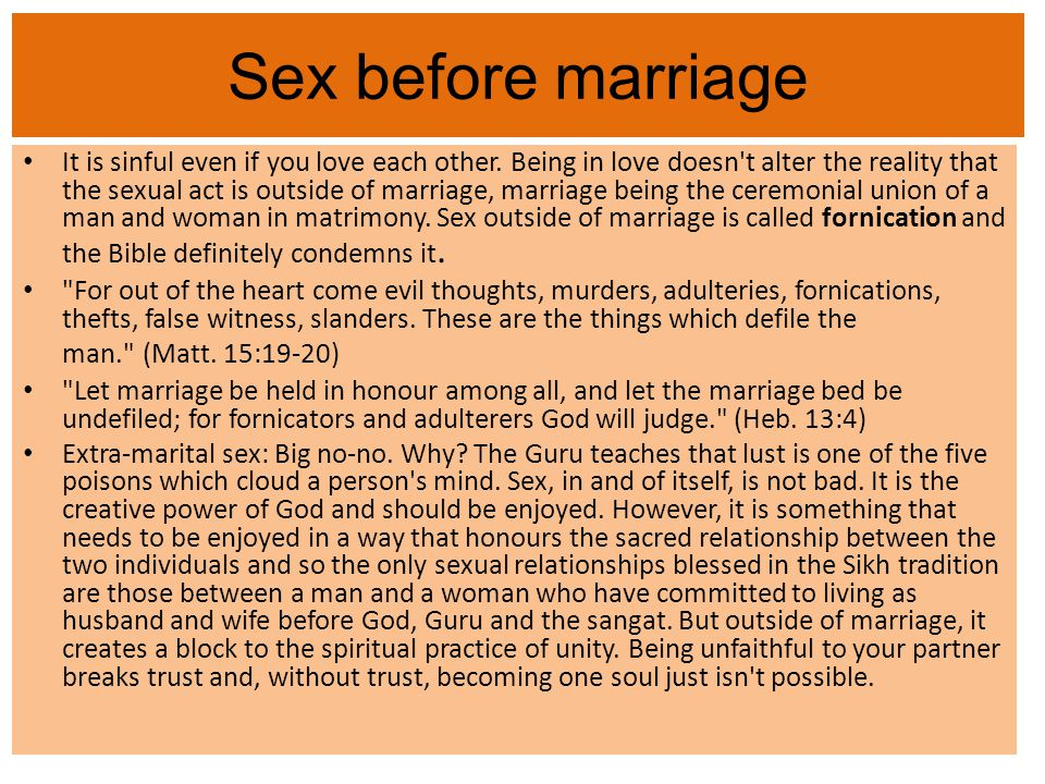 is sin sex marriage a before