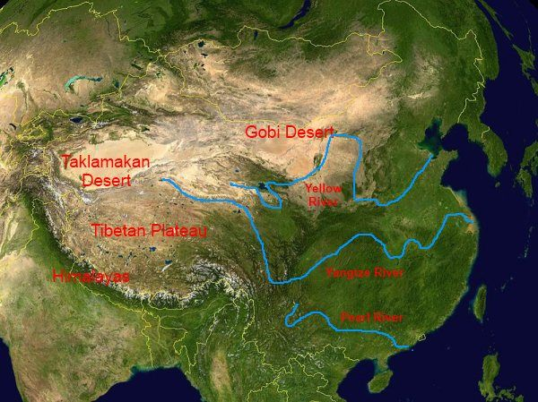 rivers asian and mountains deserts